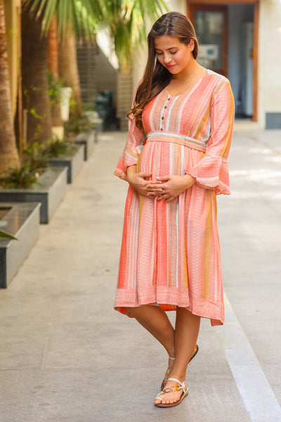 Peachy Striped Front Button Maternity & Nursing Dress
