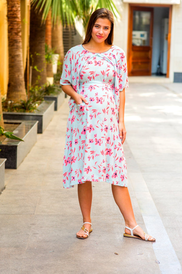 Ice Blue Floral Maternity & Nursing Flap Dress - MOMZJOY.COM