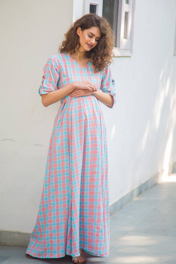 Pastel Pink Plaid Maternity & Nursing Maxi Dress - MOMZJOY.COM