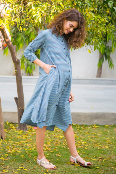 Cobalt Striped Versatile Maternity & Nursing Shirt Dress - MOMZJOY.COM