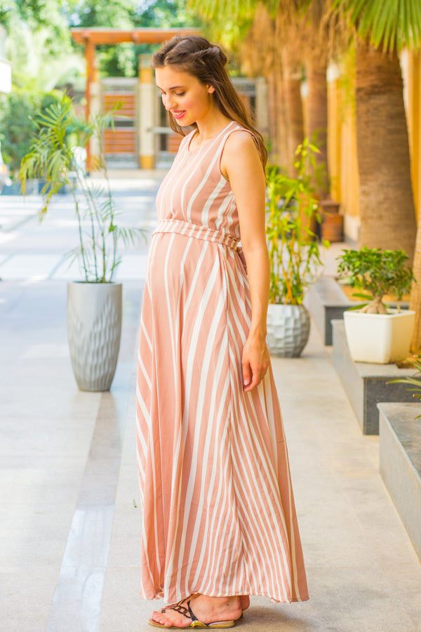 Peach White Striped Maternity & Nursing Dress - MOMZJOY.COM