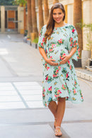 Mint Water Lilly Maternity & Nursing Flap Dress