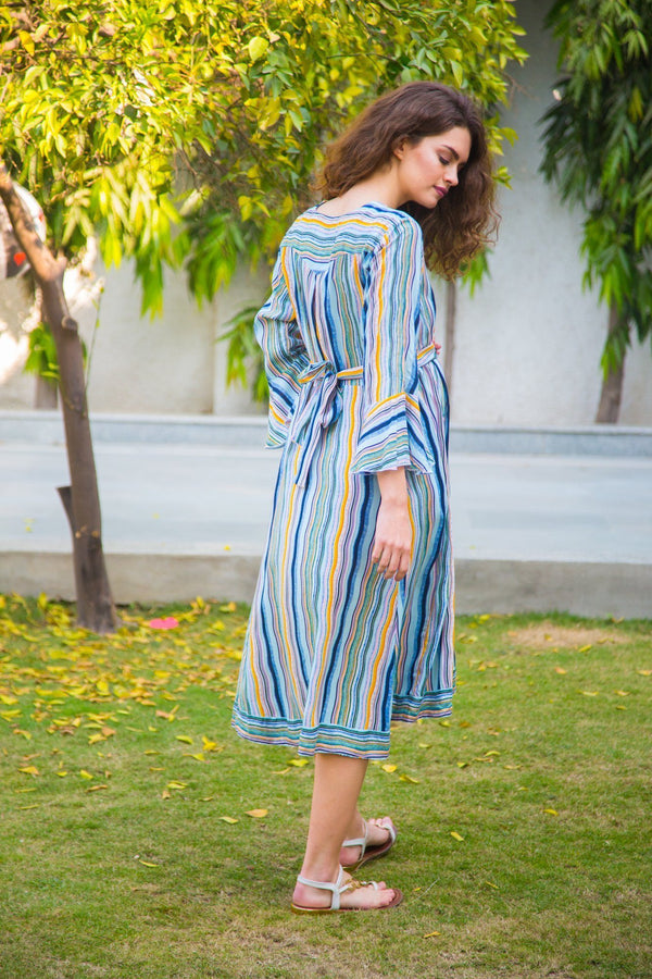 Electric Striped Front Button Maternity & Nursing Dress - MOMZJOY.COM