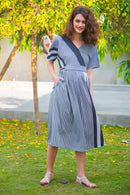 Nautical Crepe Kimono Sleeves Maternity & Nursing Dress