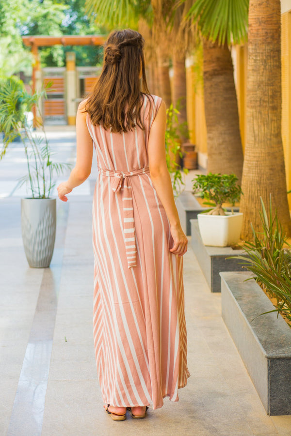 Peach White Striped Maternity & Nursing Dress