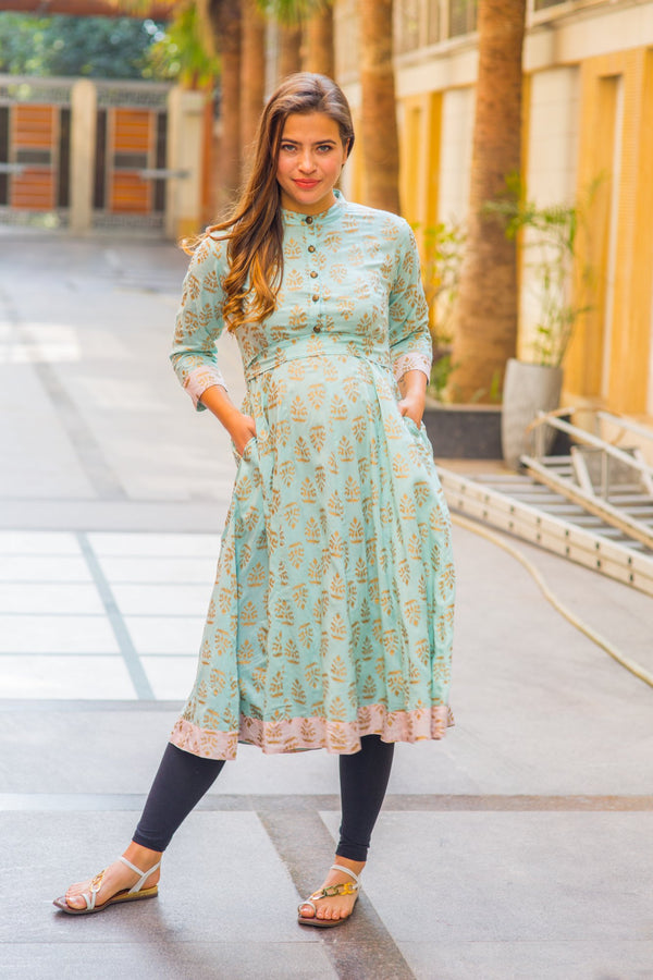 Mint Blue Gold Block Print Silk Maternity & Nursing Kurta