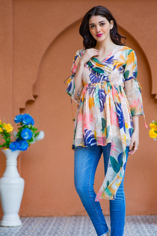 Offwhite Bloom Chiffon Gathered Maternity Top