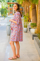 Orange Floral Stripe Maternity & Nursing Shirt Dress - MOMZJOY.COM
