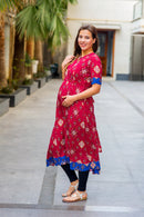 Festive Red Gold Threadwork Maternity & Nursing Concealed Zip Kurta