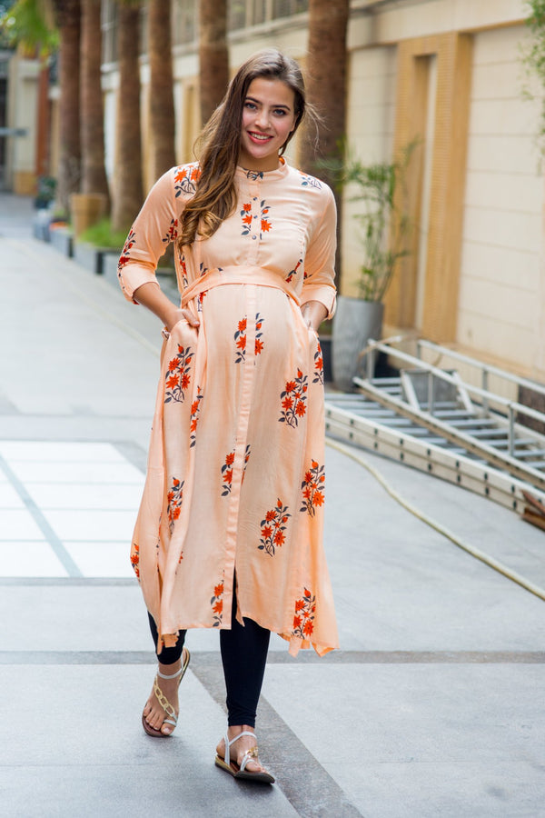 Loom Peach Floral Maternity and Nursing Kurta - MOMZJOY.COM