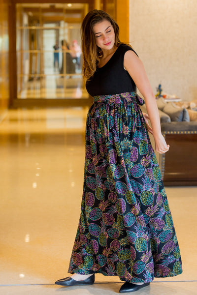 Pineapple Neon Print Gathered Maternity Dress - MOMZJOY.COM