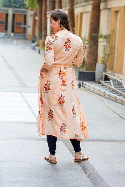 Loom Peach Floral Maternity and Nursing Kurta