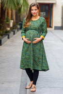 Geo Green Double Tie Maternity & Nursing Kurta Dress - MOMZJOY.COM