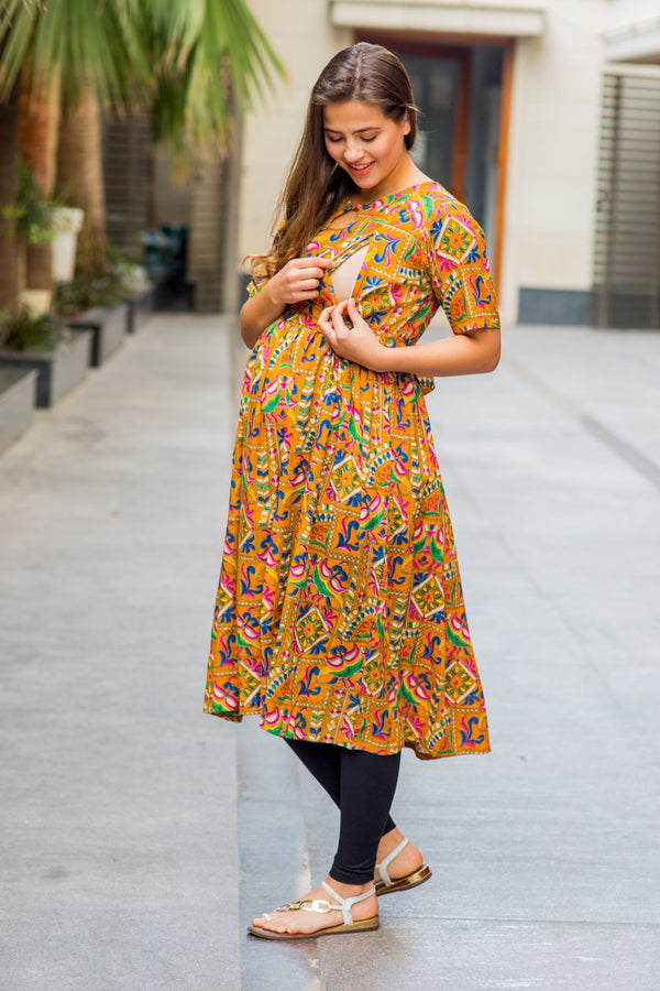 Yellow Threadwork Concealed Zip Maternity & Nursing Kurta