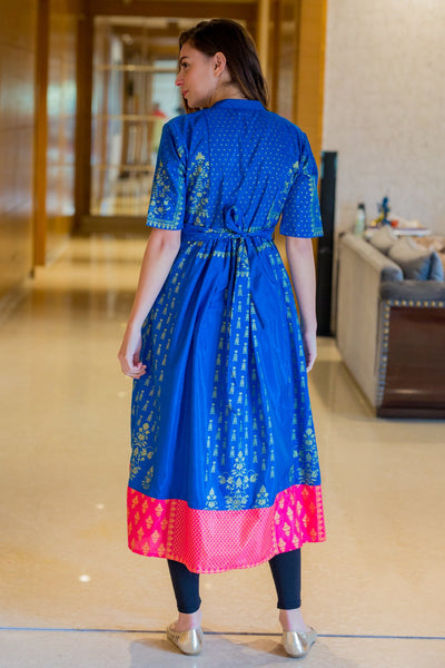 Eden Blue Maternity and Nursing Kurta - MOMZJOY.COM