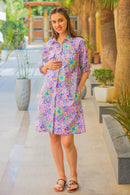 Taffy Floral Maternity & Nursing Shirt Dress