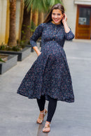 Classic Blue Gold Embellished Maternity & Nursing Kurta - MOMZJOY.COM