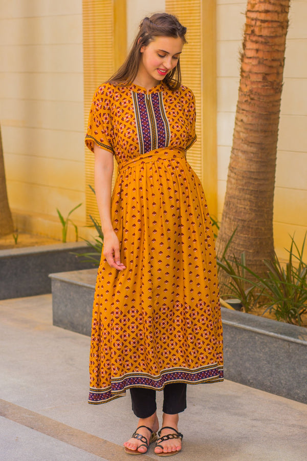Honey Mustard Maternity & Nursing Kurta - MOMZJOY.COM