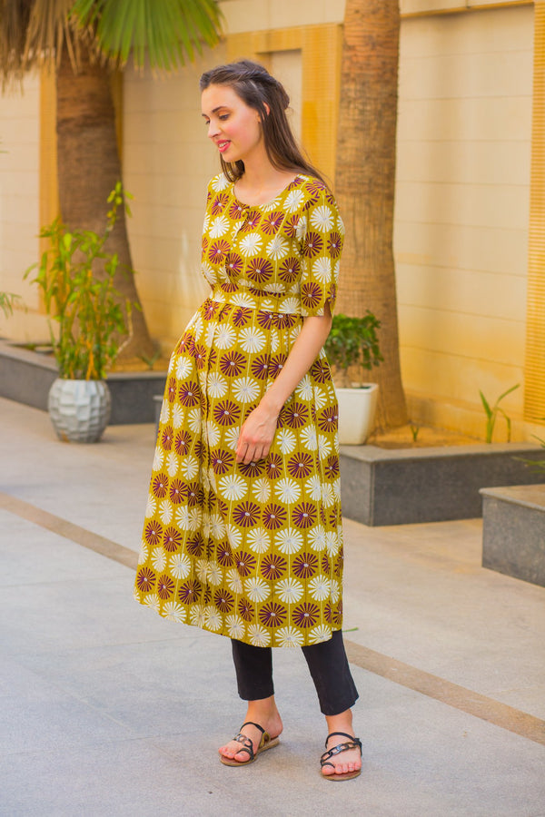 Mustard Sunflower Maternity and Nursing Kurta
