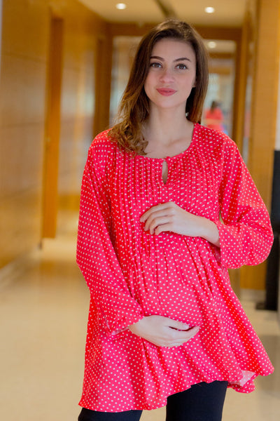 Red Polka Pintucks Maternity & Nursing Top - MOMZJOY.COM