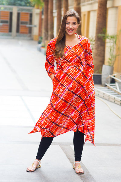 Abstract Saffron Cotton Maternity & Nursing Kurta - MOMZJOY.COM