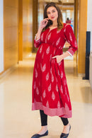 Royal Red Leafy Maternity & Nursing Kurta - MOMZJOY.COM