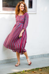 Maroon Striped Pocket Maternity & Nursing Dress