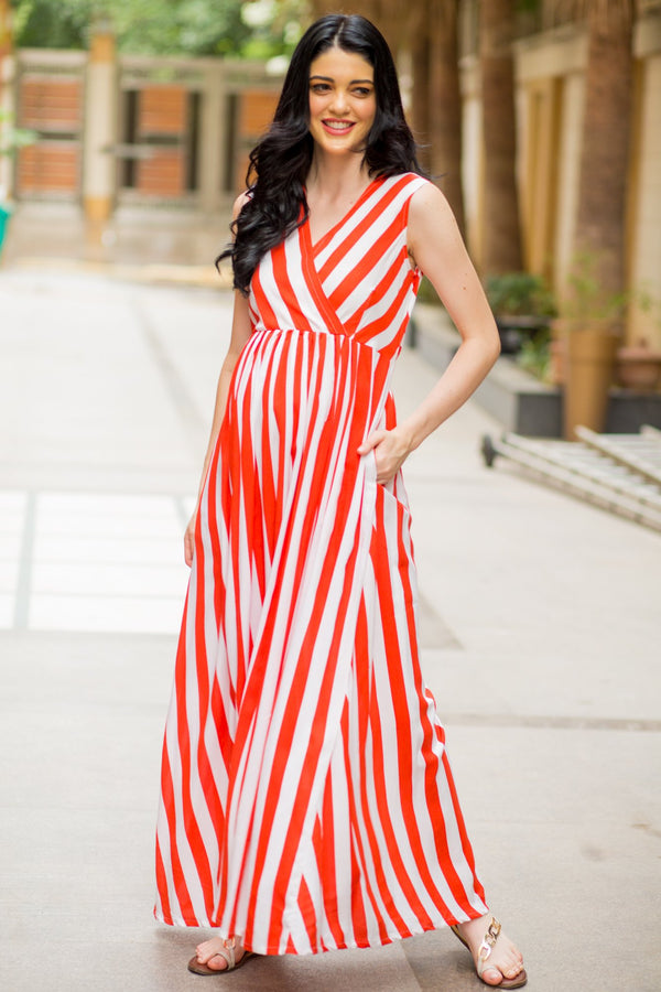 Chic Candy Red Striped Maternity and Nursing Maxi Dress - MOMZJOY.COM