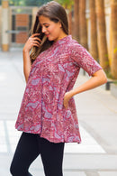 Crimson Mist Flair Maternity & Nursing Top - MOMZJOY.COM