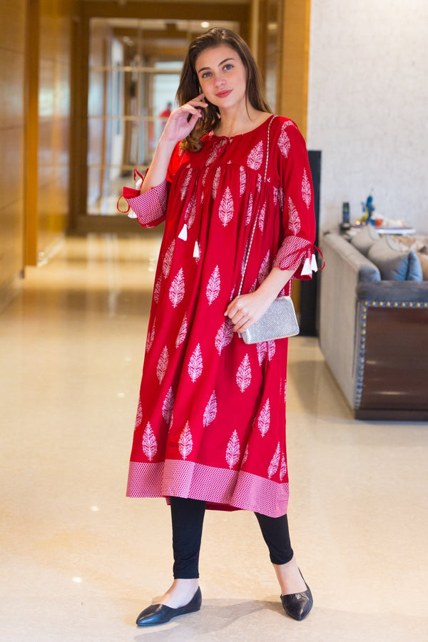 Crimson Red Maternity & Nursing Kurta - MOMZJOY.COM