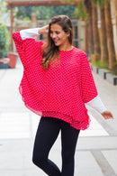 Berry Polka Layered Maternity Top - MOMZJOY.COM