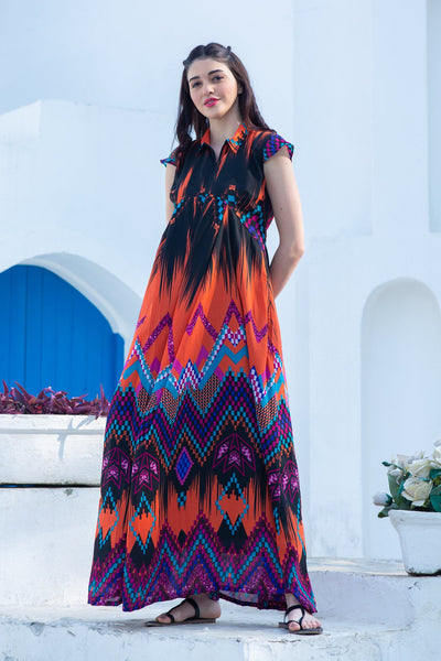 Dancing Colors Maternity & Nursing Kaftan Dress