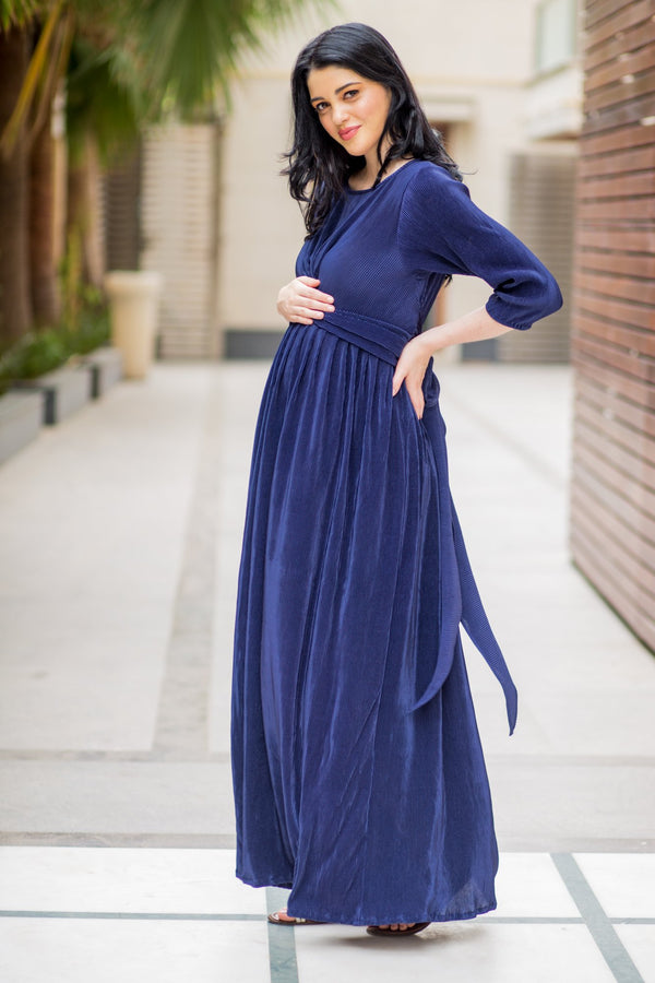 Elegant Blue Pleated Maternity Knot Dress