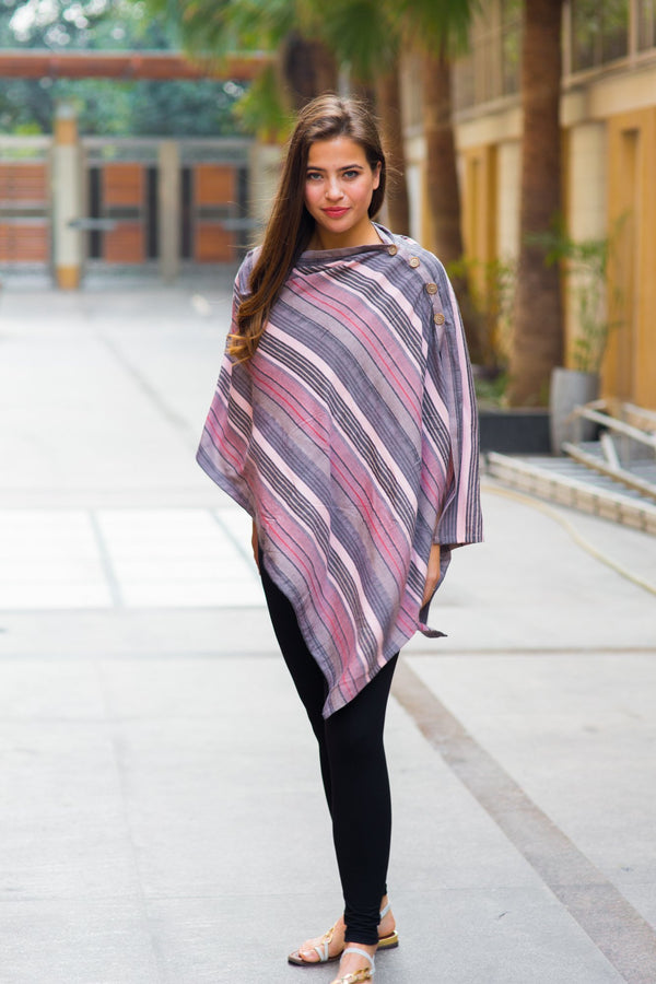 Soothing Shades of Pink Striped Nursing Stole - MOMZJOY.COM