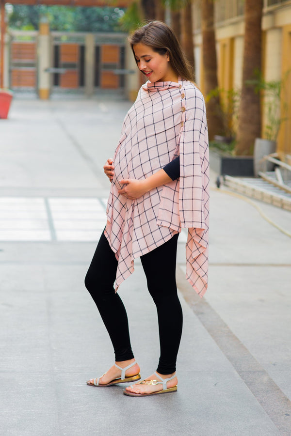 Pastel Peach Check Nursing Stole