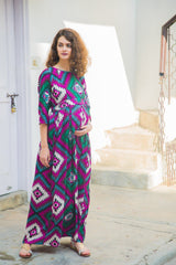 Azure Abstract Concealed Zip Maternity & Nursing Maxi - MOMZJOY.COM