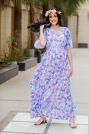 Purple Pink Butterfly Cascading Maternity Flow Dress - MOMZJOY.COM
