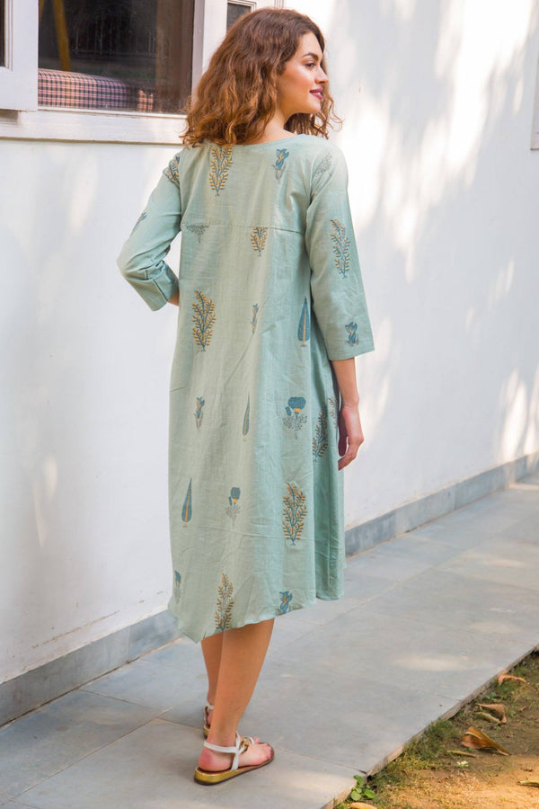 Mint Cotton Maternity & Nursing Dress