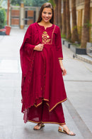 Premium Maroon Assym Gold Zari Maternity & Nursing Suit Set (3 pc)