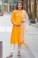 Premium Orange Chanderi Silk Flower Gold Zari Maternity Suit Set (3 pc)