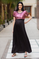 Luxe Mulberry Jade Sequin Maternity Dress
