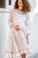 Sober White Maternity & Nursing Dress