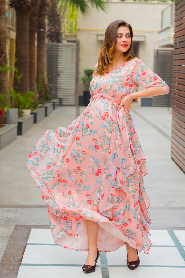 Delicate Taffy Maternity Flow Dress - MOMZJOY.COM