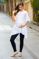 Premium White Embroidered Maternity Top