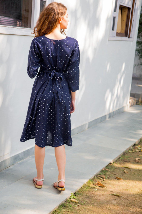 Indigo Polka Maternity & Nursing Dress