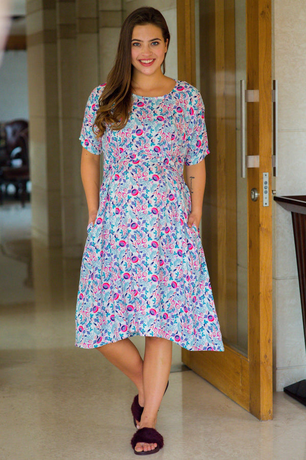 a153c1a97ae Cute Candy Shoulder Snap Maternity   Nursing Dress   Delivery Gown  Night  Dress - MOMZJOY