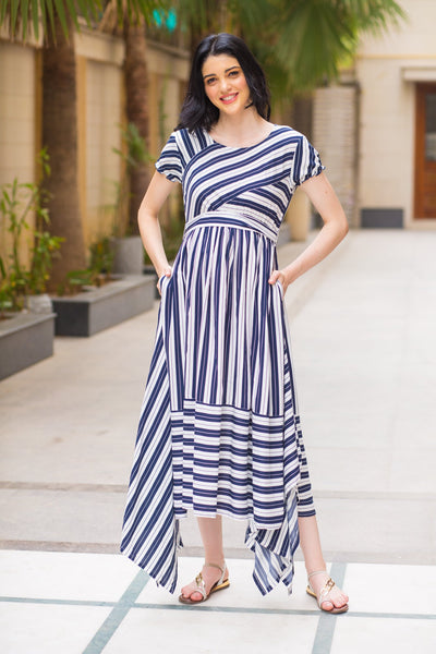 Unique Assymetrical Striped Maternity Dress