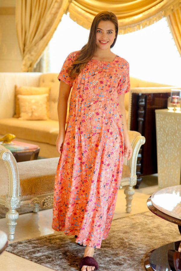 Delicate Salmon Maternity & Nursing Night Dress - MOMZJOY.COM