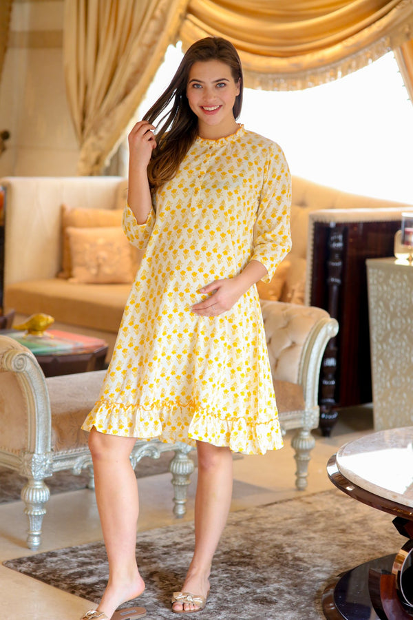 Yale Yellow Maternity & Nursing Night Dress