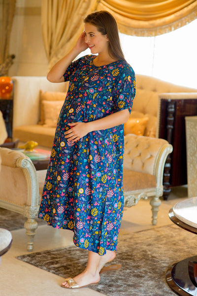 Midnight Blue Shoulder Snap Maternity & Nursing Dress / Delivery Gown/ Night Dress